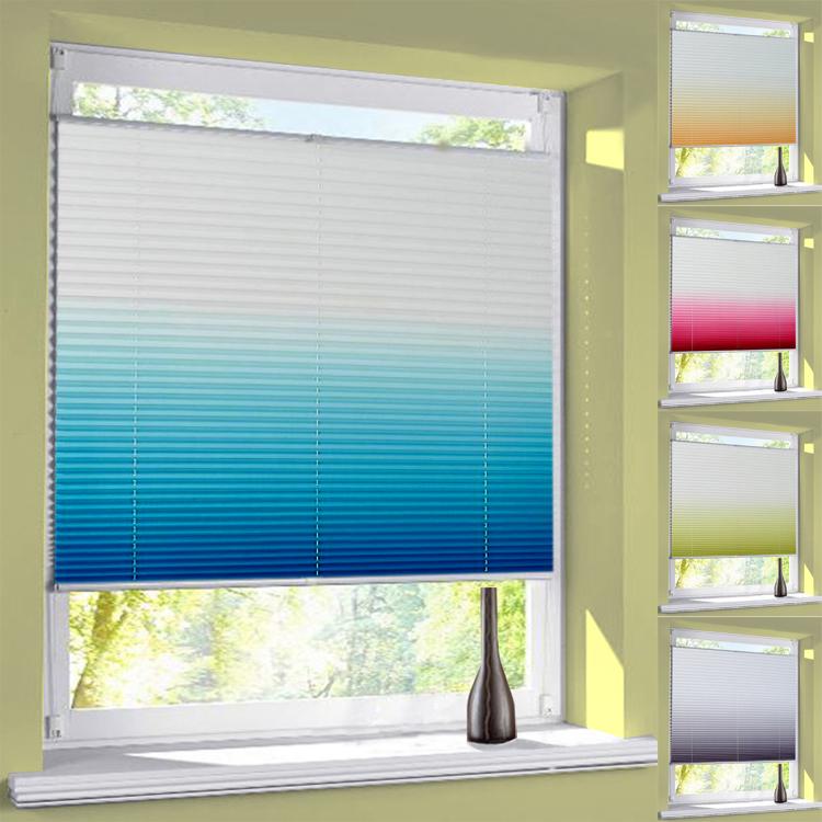 plissee farbverlauf verdunkelung thermo verspannt easyfix blickdicht ohne bohren ebay. Black Bedroom Furniture Sets. Home Design Ideas