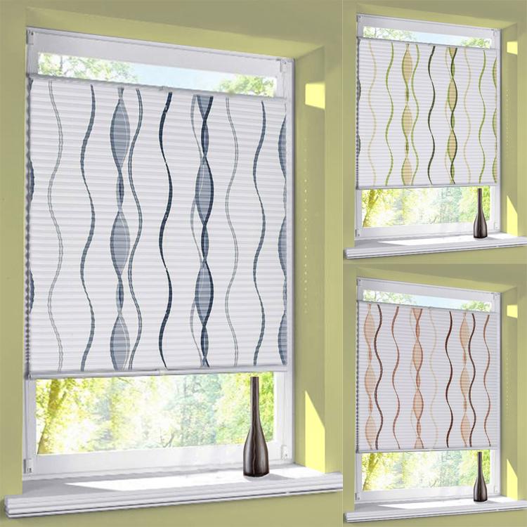 plissee linie motiv verdunkelung thermo verspannt easyfix blickdicht ohne bohren ebay. Black Bedroom Furniture Sets. Home Design Ideas